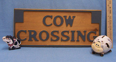 Lot Of 3 Cow Decor Items Sign Resin Bank Wooden Cut Out