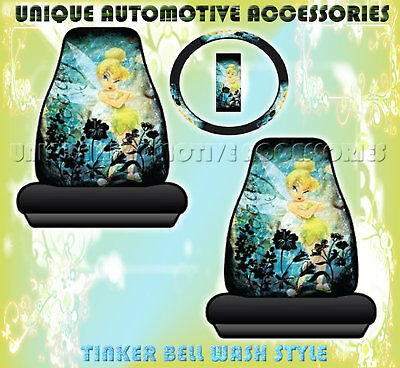 3PC TINKER BELL WASH SEAT COVERS STEERING WHEEL COVER