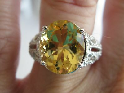 4.1ct FLAWLESS CITRINE RING, VINTAGE  STYLE,ANTIQUE ART DECO