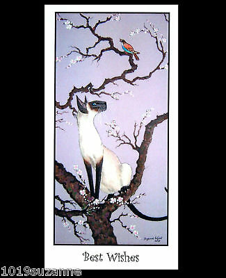 Original Siamese Cat Cherry Blossoms Painting Greetings Card By Suzanne Le Good