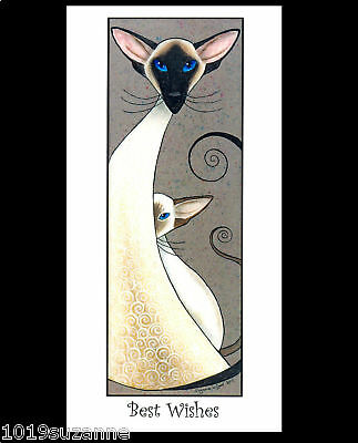 Siamese Cat Painting Greetings Card By Suzanne Le Good