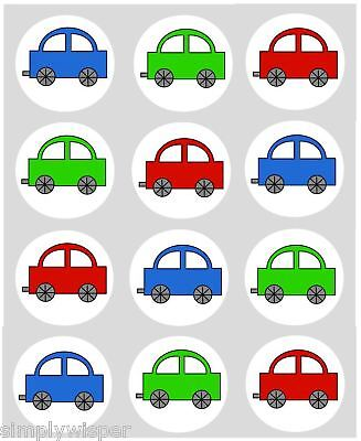 12 Toy Car Cupcake Decoration Edible Cake Toppers Printed Pre Cut 40mm