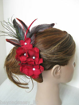 Red Bridal Prom Valentine's Day Flower Feather Fascinator Hair Clip