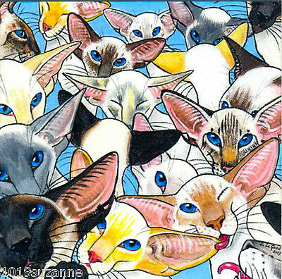 Ltd. Edition Mounted Siamese Cat Print From Original Painting By Suzanne Le Good