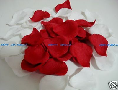 1200pc Red and white Silk Rose Petals Wedding Flowers