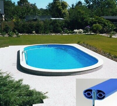Pool Set komplett oval Ovalform Becken Stahlwand Swimmingpool Folie adriablau