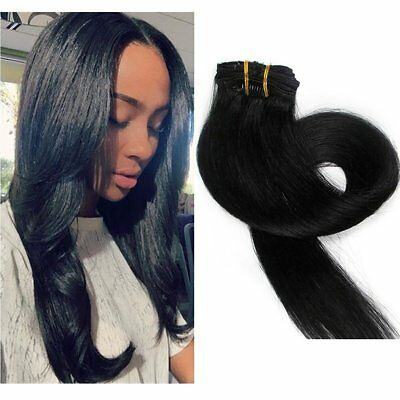 "20"" Clip in on HUAMN HAIR Extension 1B# Off Black HOT @"