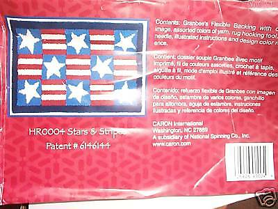 Stars And Stripes,by Caron Rug Hook Kit W/yarns,classic