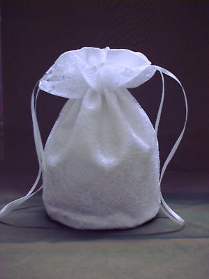 White Lace And Satin Bridal Dolly Bag.wedding / Evening