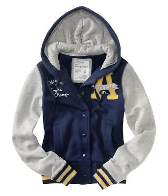 NEW AEROPOSTALE WOMEN/'S VARSITY HOODED JACKET NAVY BLUE 2XL,XL,L,M,S,XS