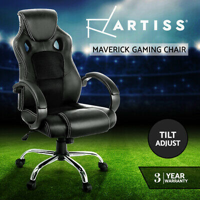 PU Leather Racing Office Chair Sport Executive Computer Home Work White Black 74