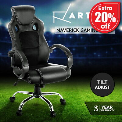 Racing Office Chair Sport Executive Computer Gaming Deluxe PU Leather Mesh Black
