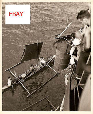 Wwii Uscg 8X10 Original Natives Barter With Sailors Wow