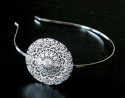 Round pattern Silver plated Headband for Side tiara