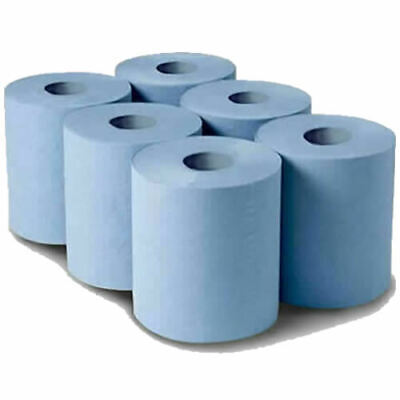 6 Rolls Blue Paper Wipe Centre Feed Towel Tissue 2 Ply 100M 100 Metre