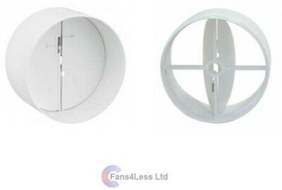 """IN LINE BACK DRAUGHT SHUTTER - EXTRACTOR FAN DUCTING 4"""" 100mm"""