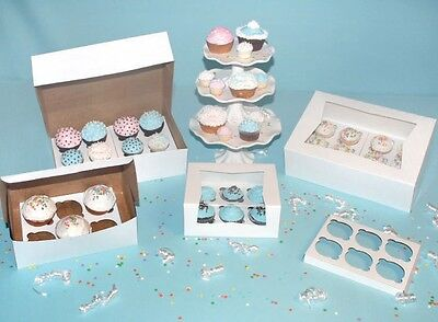 Lot of 10 Bakery Box 8x8x4 Holds 4 Cupcakes w/ Inserts