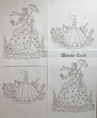 Crinoline Lady 8 x A4 iron on embroidery transfers by Webster