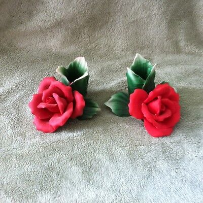 Capodimonte. Made in Italy.Red Rose Candle Holders