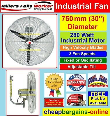 WALL MOUNT FAN PATIO FAN 750mm INDUSTRIAL 240 volt 3 speed OSCILLATING FAN COOL
