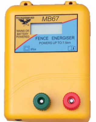 7.5km MB67 MAINS & BATTERY Powered Electric Fence ENERGISER- Thunderbird