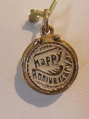 14K GOLD 3D HAPPY ANNIVERSARY CAKE OPENS with 1 CANDLE CHARM PENDANT