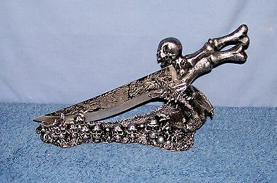 DWK Obsidian Athame - Dragon with skulls
