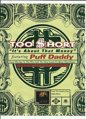 TOO SHORT It's About TRADE AD POSTER of  Can't Stay CD