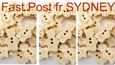 10 x Teddy Bear Wood BUTTONS Sewing Craft Scrapbooking