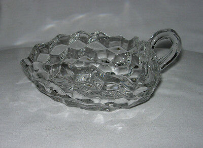 Old Vintage Fostoria American Clear Crystal 3 Corner Handled Nappy Dish Plate