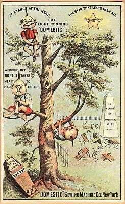Victorian Trade Card: Domestic Sewing Machine-NYC-Palmer Cox Brownies in Tree