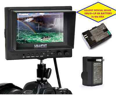 "Lilliput 5"" 569/O  HDMI In&out  BNC Ypbpr + AV Camera-top Monitor+ LP-E6 Battery"