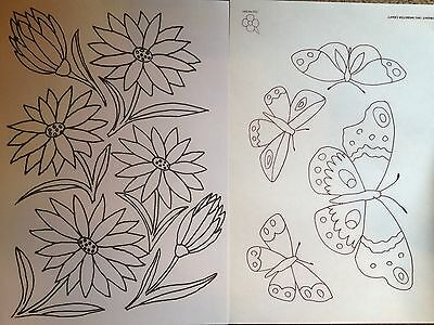 Butterfly & Flower iron on embroidery transfer patterns 4 xA4 sheets