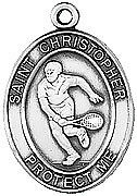 """St Christopher Medal Patron Saint Tennis Player Sterling Silver 925 w 24"""" Chain"""
