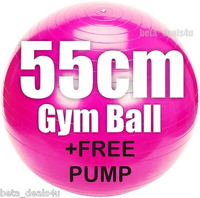 55Cm Size Pink Fitness Exercise Swiss Fit Yoga Class Gym Ball Core Gymball &pump