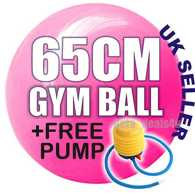 FITNESS EXERCISE SWISS GYM / FIT / YOGA BALL CORE GYMBALL 65CM PINK + New PUMP