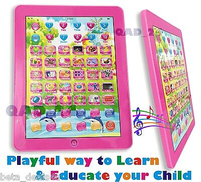 PINK TABLET My 1st Year Kids IPAD TAB Learning New Toy Xmas Gift for Girls Boys