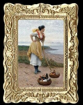 OCEAN VIEW Dollhouse Picture Miniature FRAMED Fine Art - MADE IN AMERICA