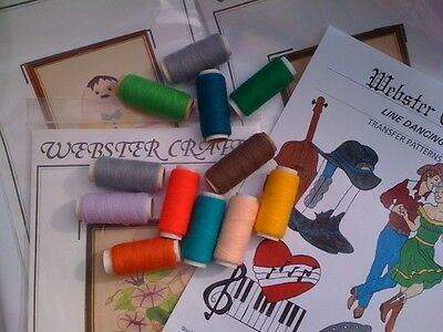 Webster Punch Needle Yarns and assorted iron on transfer patterns for craft