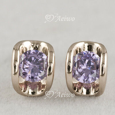 18k rose gold gf made with Swarovski crystal purple stud fashion earrings AEIWO
