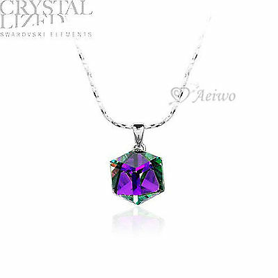 18K White Gold Filled Made With Swarovski Crystal Cube Pendant Necklace