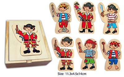 NEW FUN FACTORY Wooden Dress Up Pirate Puzzle 18 Pce in Box