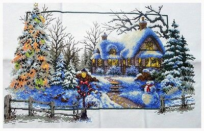 New~Finished Completed Cross Stitch - Christmas House ~