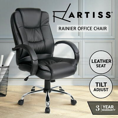 New Executive Premium PU Faux Leather Office Chairs Home Computer Black Seating