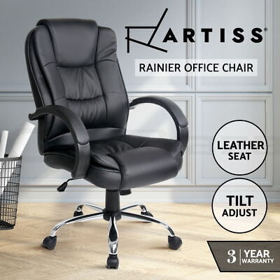 New Executive Premium PU Faux Leather Office Home Computer Chair Black Seating