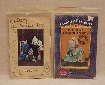 Lot of 2 Sewing Craft Patterns Instructions Bunny Trio Rabbit Cover up
