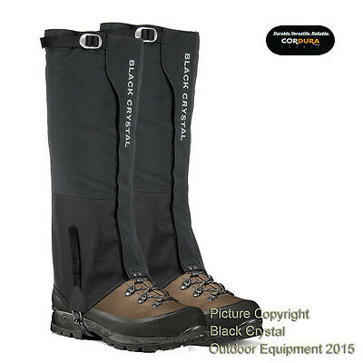 Black Crystal Hiking Walking Ski Snow Men's Gaiters Waterproof Nylon Brand New