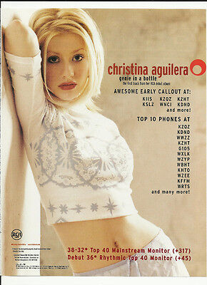 CHRISTINA AGUILERA Genie in a Bottle Trade Ad POSTER for 1999 Self title CD MINT
