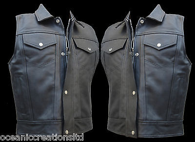 Cut Off Full Real Leather Motorcycle Motorbike Trucker Western Waistcoat Vest