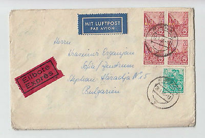 Deutsche Luftpost Germany Ddr To Bulgaria 1960 Cover Stamps Seals Airmail #10>
